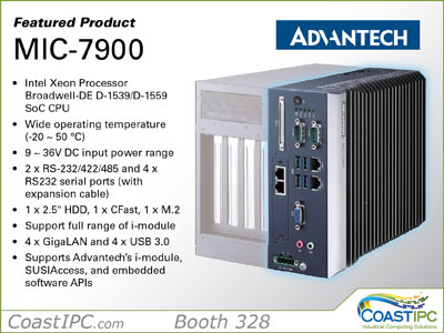Come see the compact modular MIC-7900 from Advantech offering a Broadwell processor and wide-temp  operating range. The controller delivers exceptional flexibility with its iModule Expansion Chassis, offering 1, 2 or 4 slot expansion, as well as Advantech's unique iDoor Modules offering Fieldbus communications, PoE ports, CANbus ports and more. It reduces lead time for CTOS with its easy configuration and can be widely deployed for factory and machine automation.